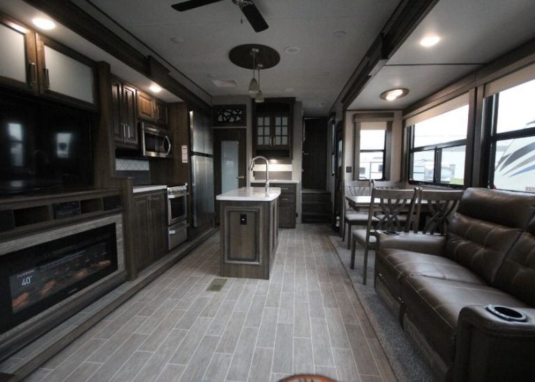 full view of trailer kitchen interior
