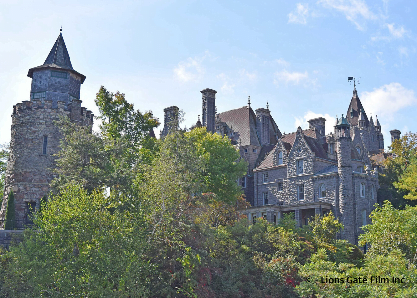 Boldt Castle behind trees