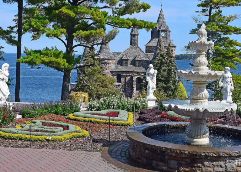 Heart shaped gardens in front of Boldt Castle