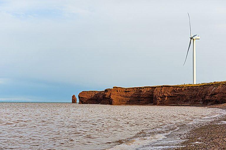 Windmill on large rocks