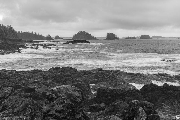 Black and white image of the coastline