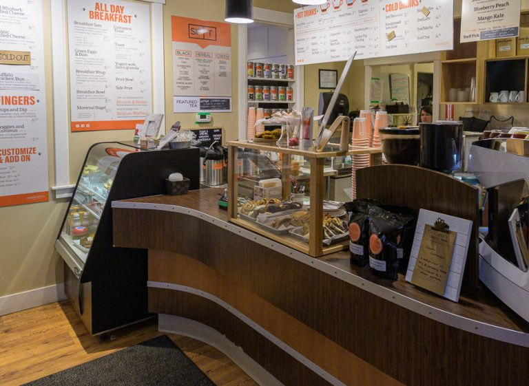 Front counter inside a coffee house