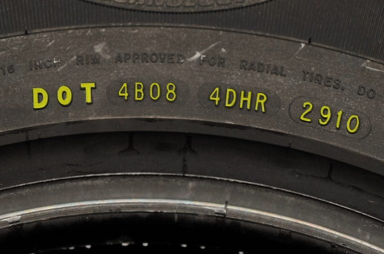 DOT code on a tire