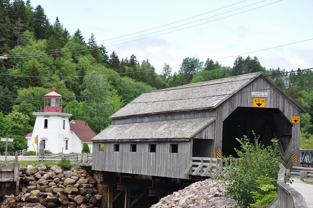 Covered bridge and lighthouse