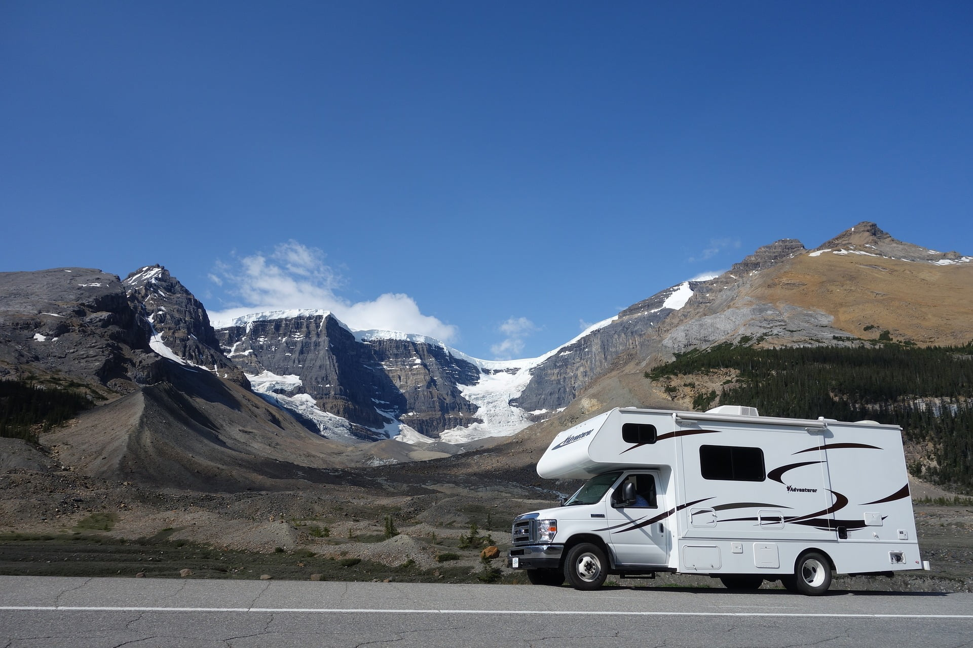 RV with a mountain background