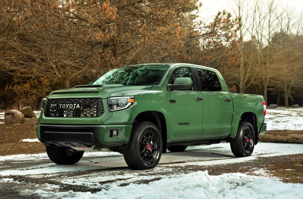 Front end exterior of Army Green Toyota Tundra