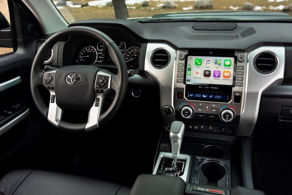 Black leather interior of Toyota Tundra