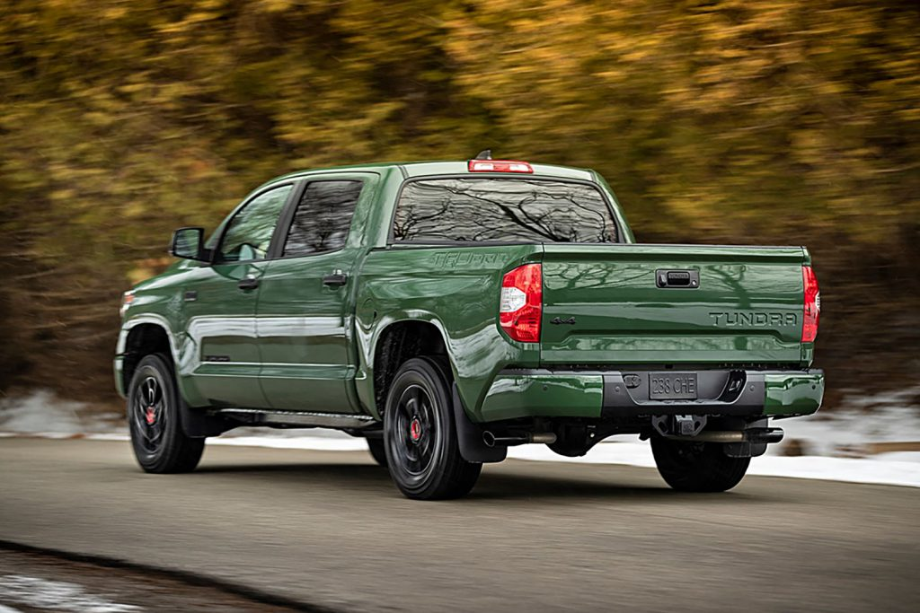 Exterior rear end of Army Green Toyota Tundra