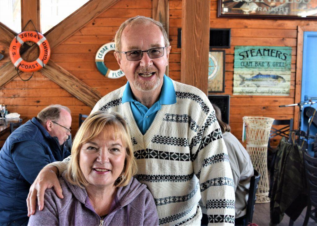 Couple at dinner celebration