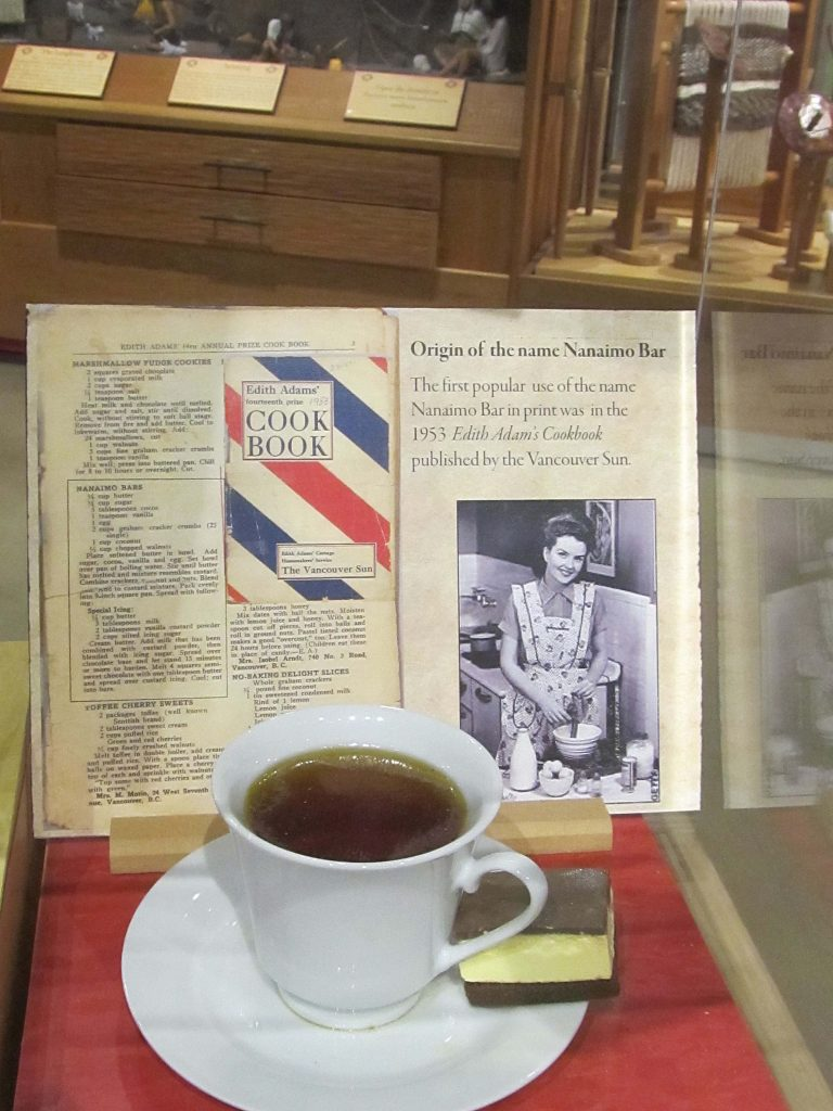 Original cookbook on display with original Nanaimo bar recipe