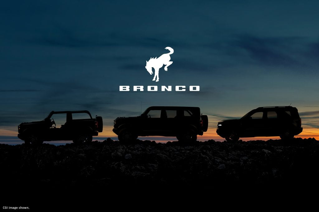 3 Broncos in the sunset