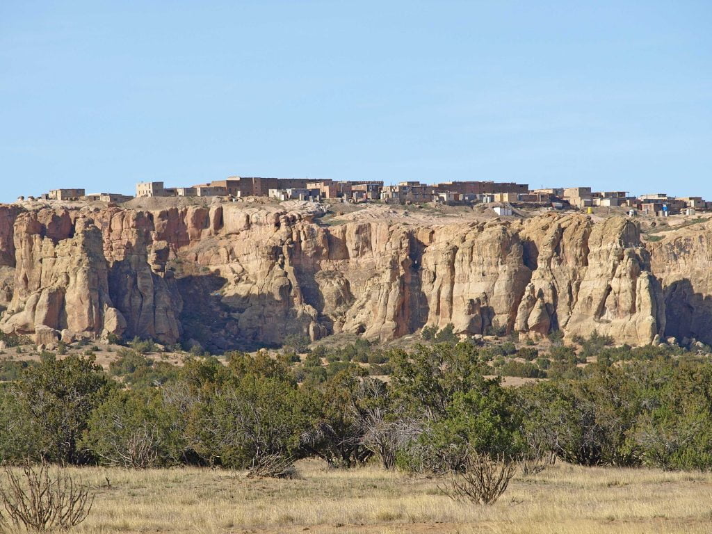 Acoma rock mountain with village on top