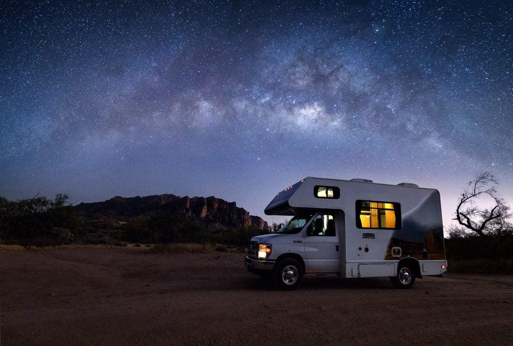 Camper with beautiful night sky