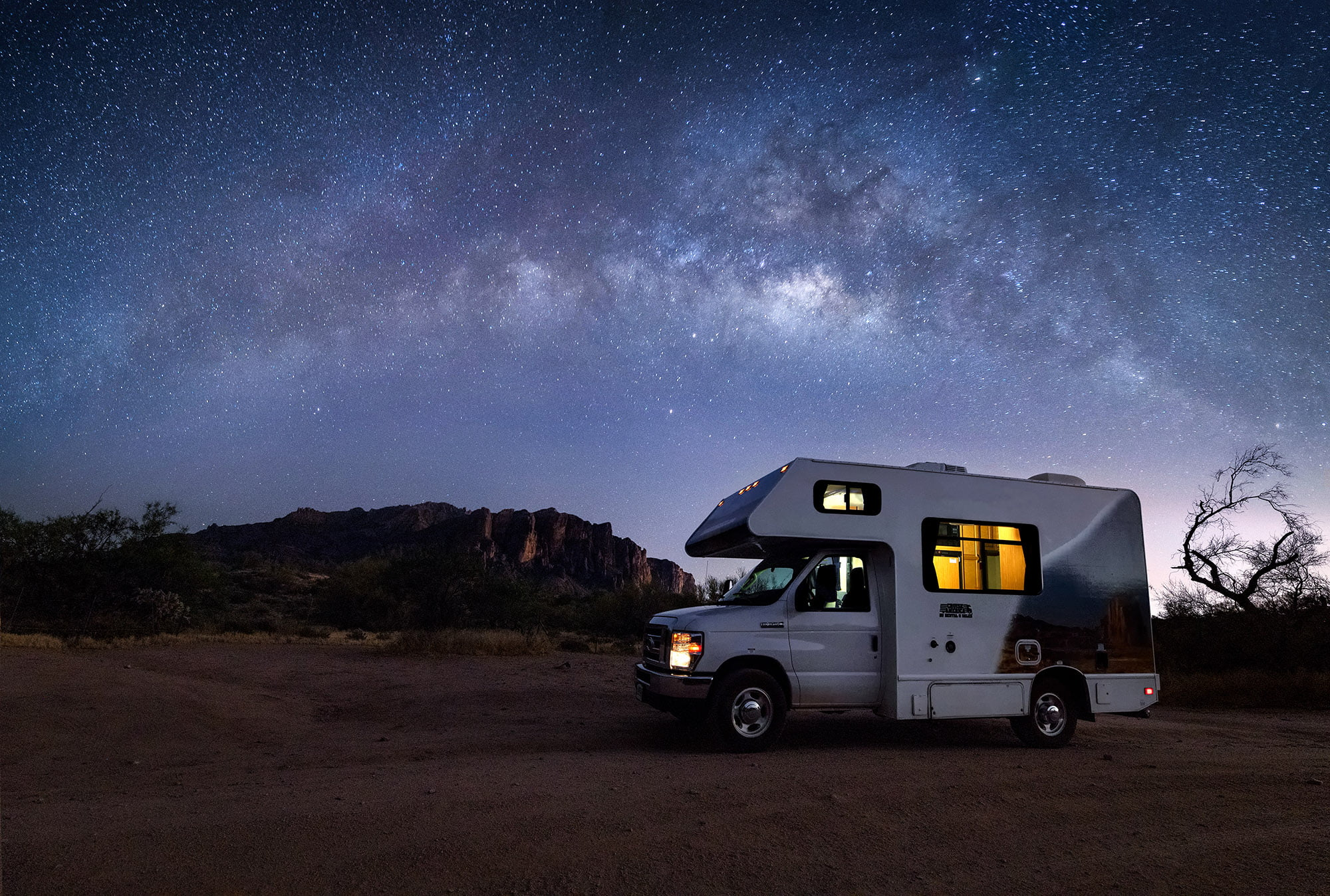 Camper with beautiful night sky
