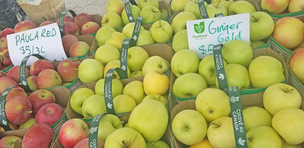 Pile of apples at at market