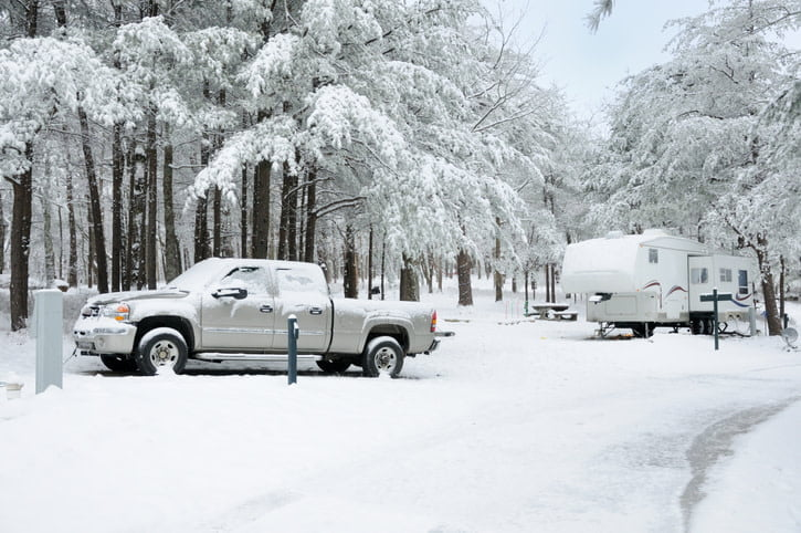 Pick up truck and trailer in the snow
