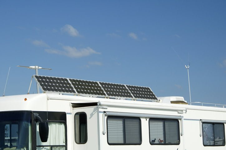 Solar panels on top of a trailer