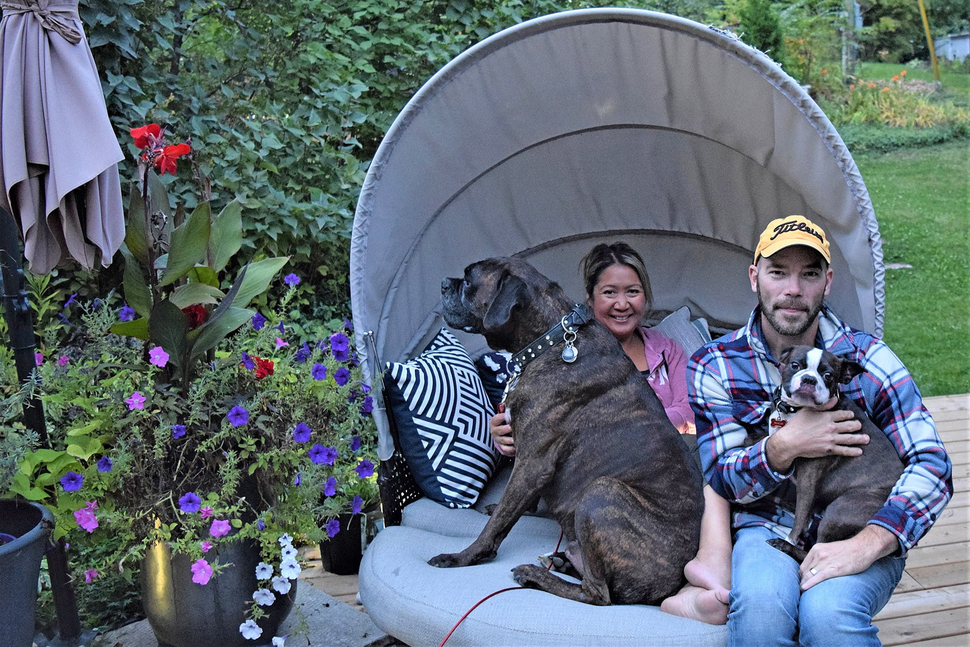 Couple with their dogs