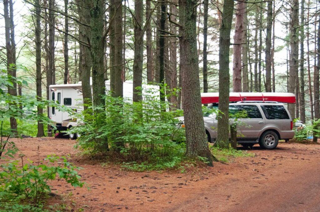 RV parking between trees.