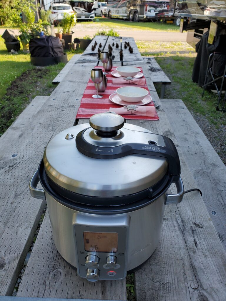 Cooking outside in an instant pot