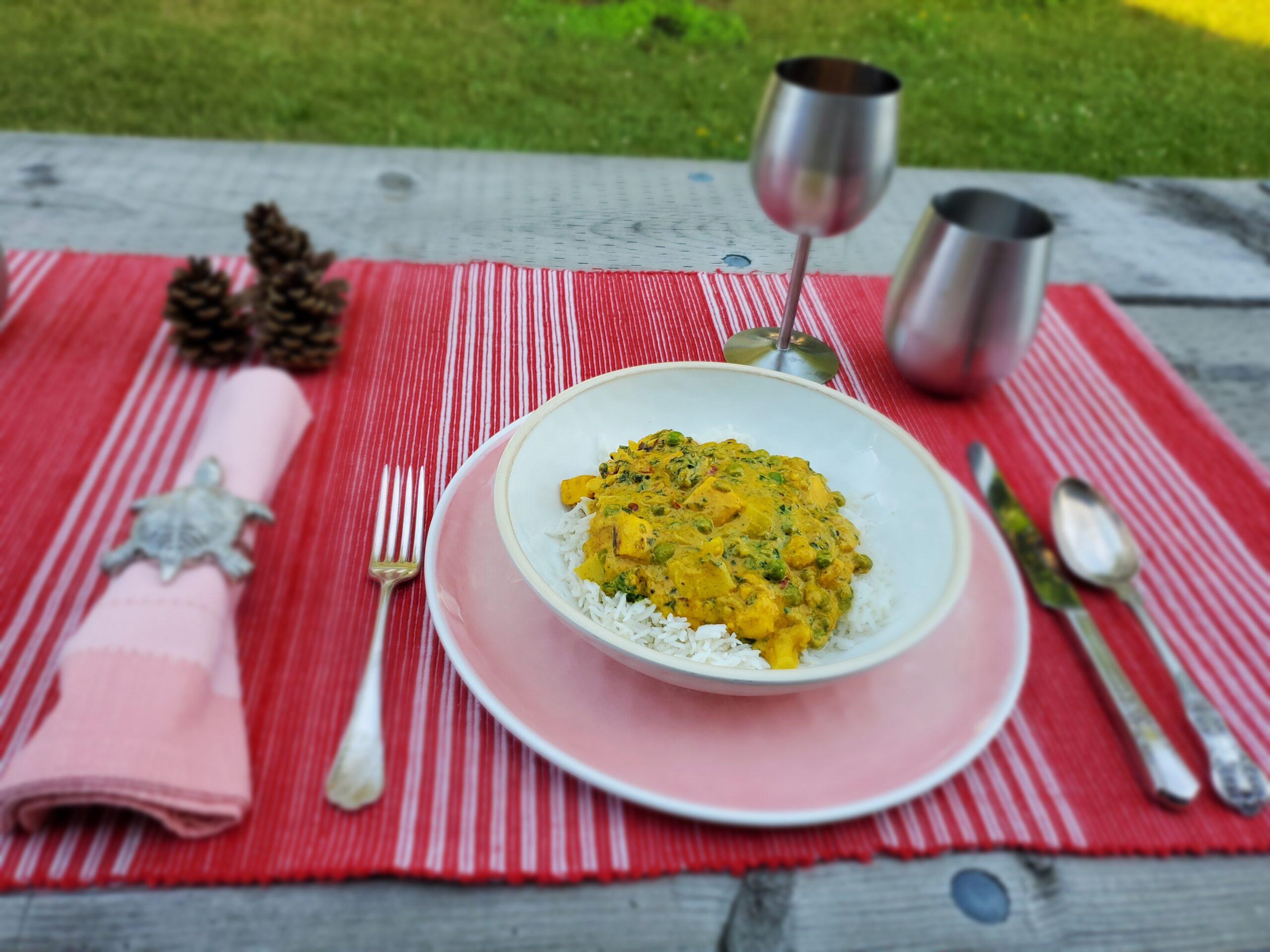 Bowl of Vegetable Halloumi Biryani on a table