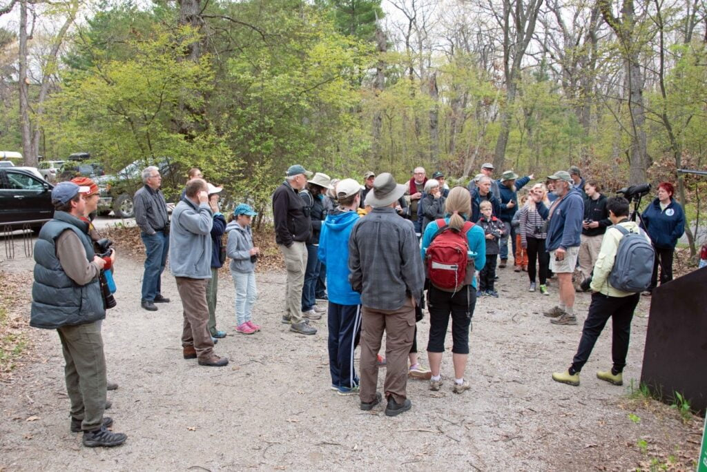 Hikers lined up for guided walk at Pinery Provincial Park
