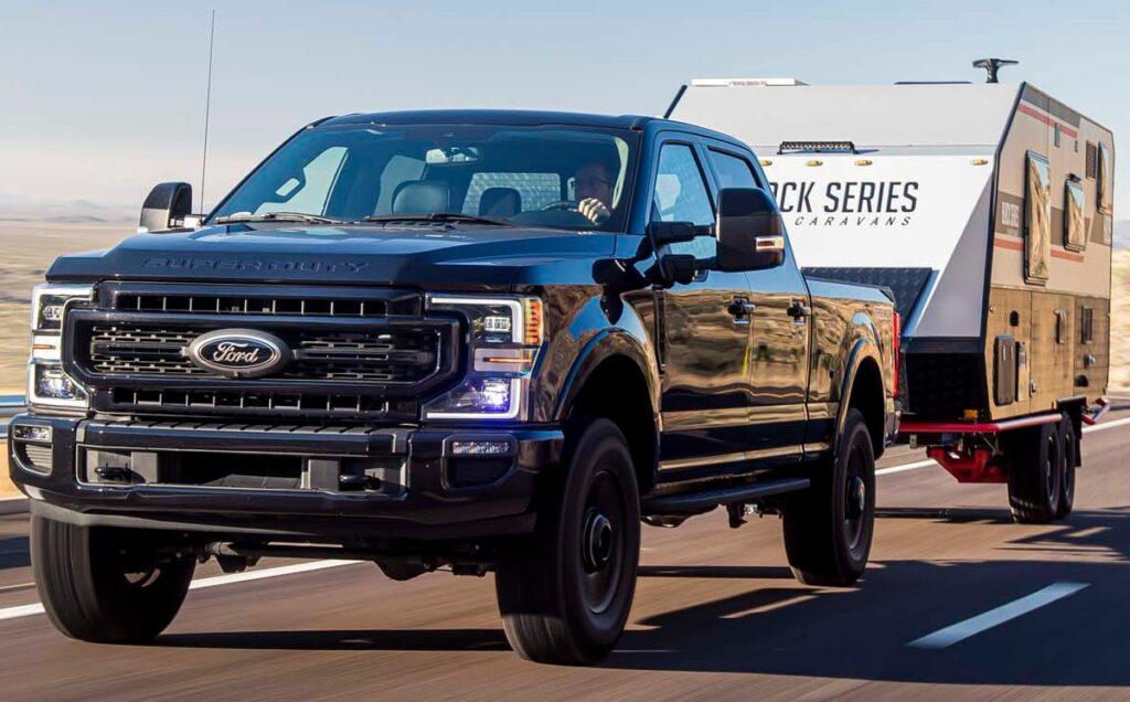 Black Ford Super Duty pickup truck
