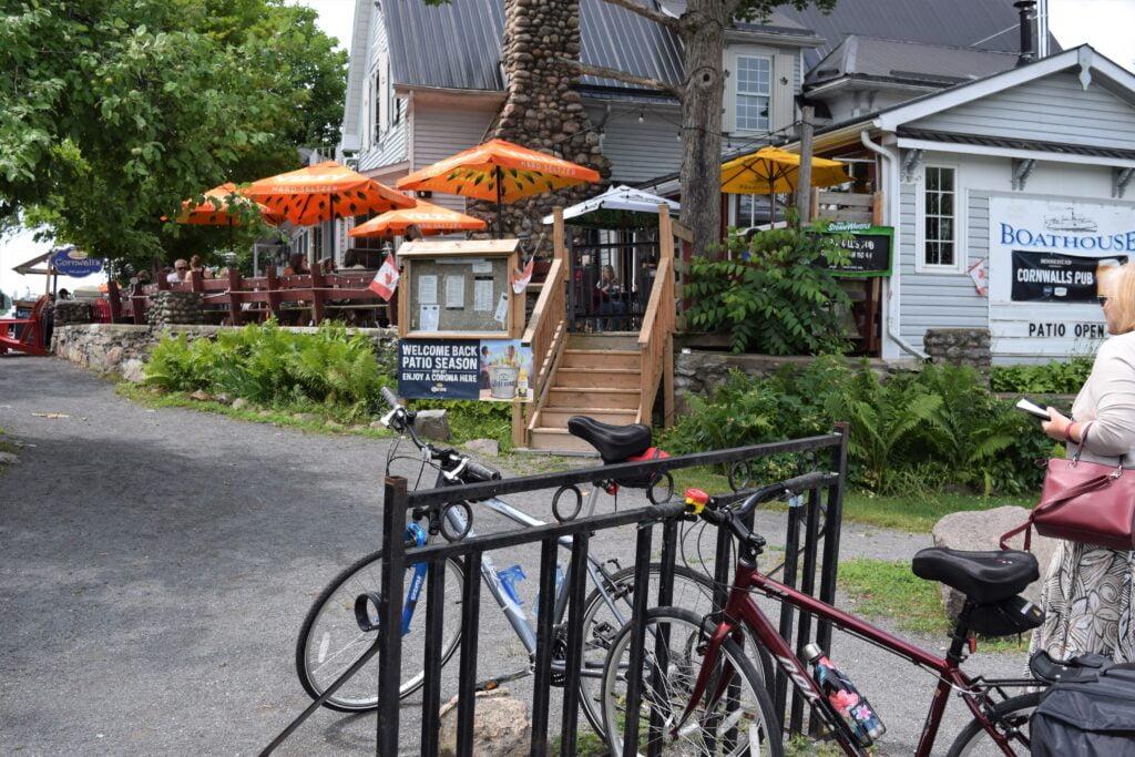 Bike rack parking outside the Cornwall Pub