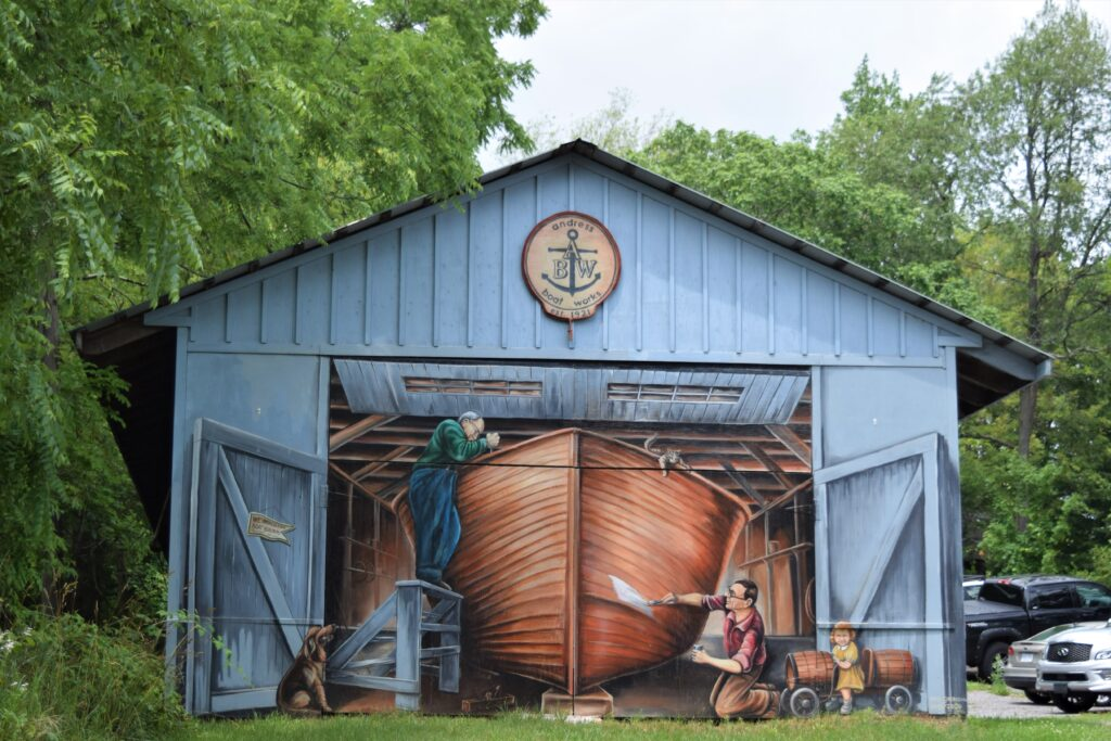 One of the painted murals around the village display many of Rockport's memories