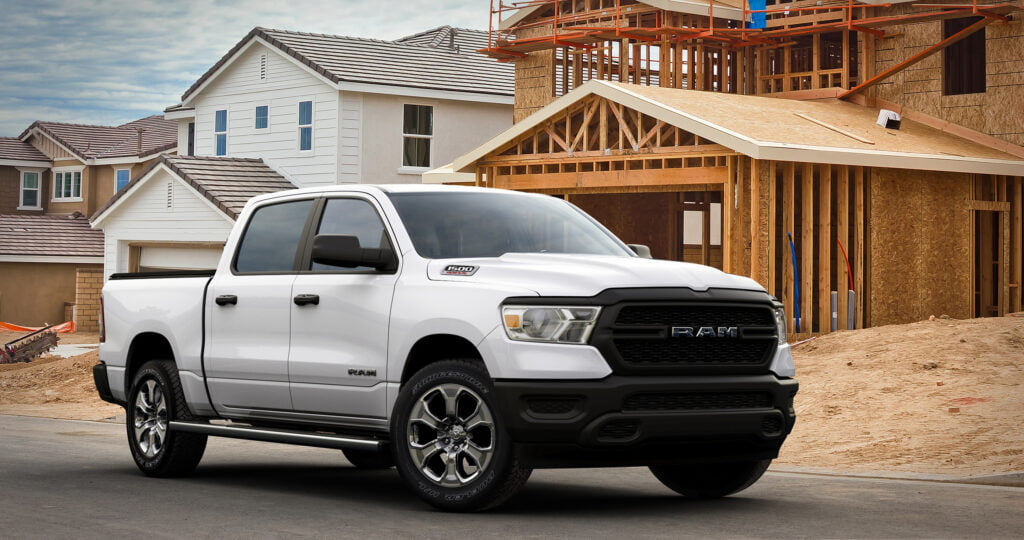 Side view of a 2021 Ram 1500 pickup truck