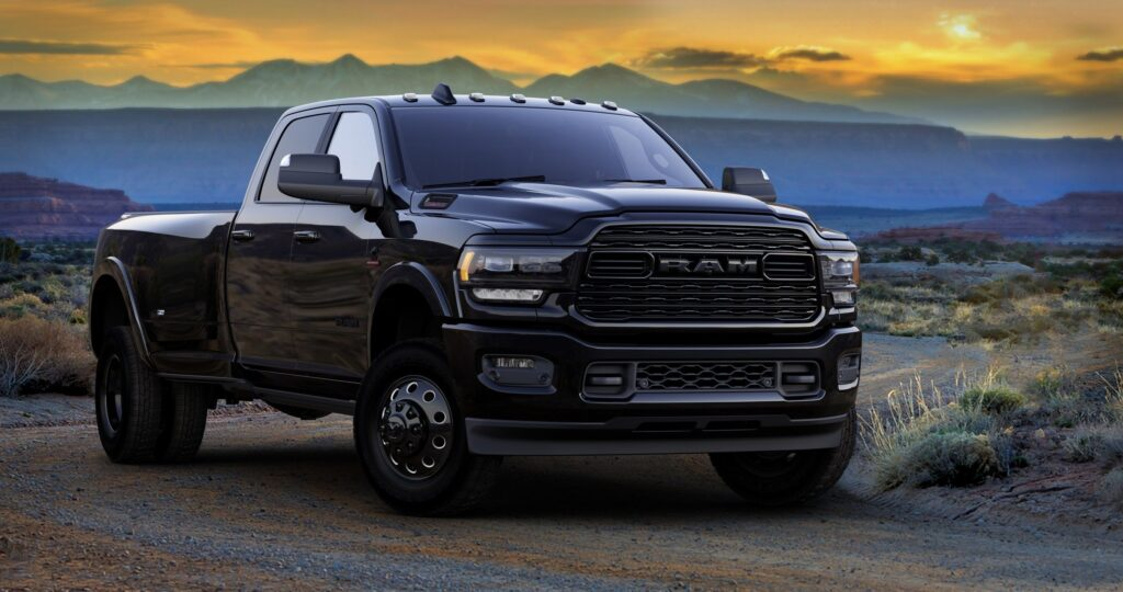 Front view of a black RAM 3500 pickup truck