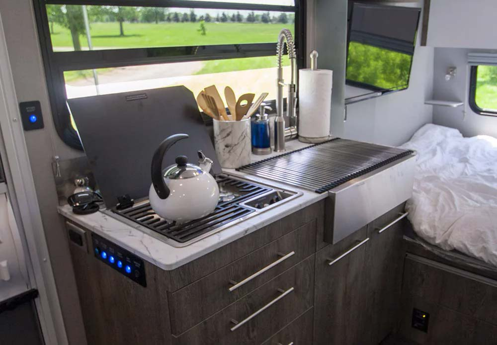 Interior view of the kitchen in the InTech trailer