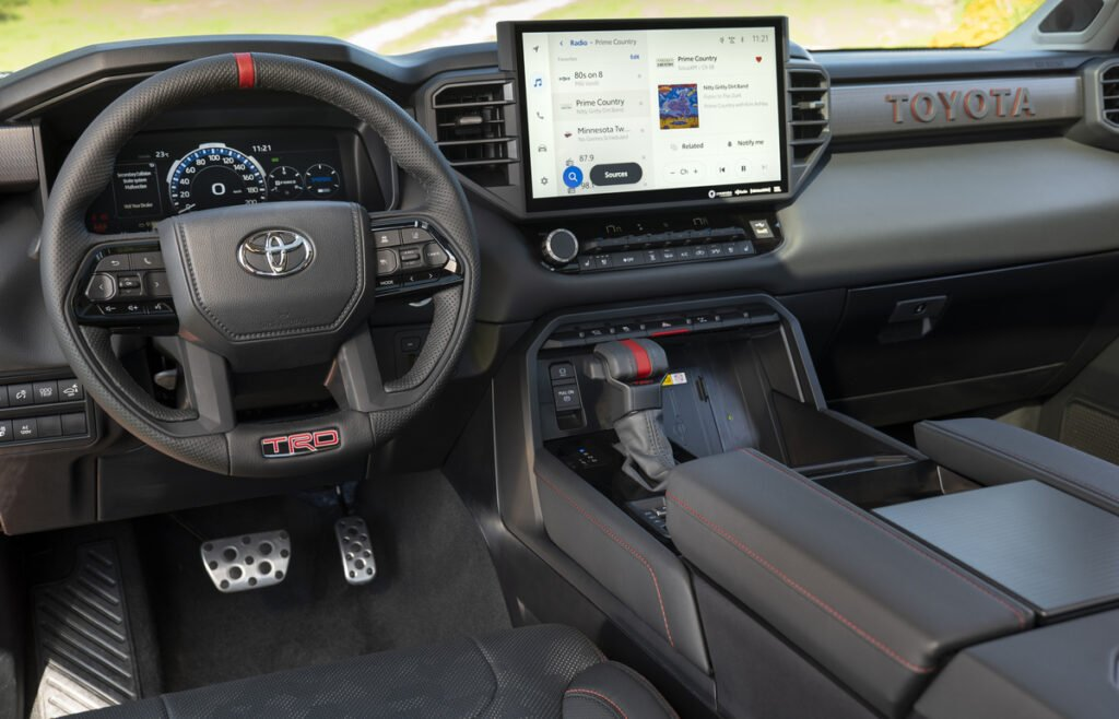 Interior view of the dashboard in the new 2022 Toyota Tundra