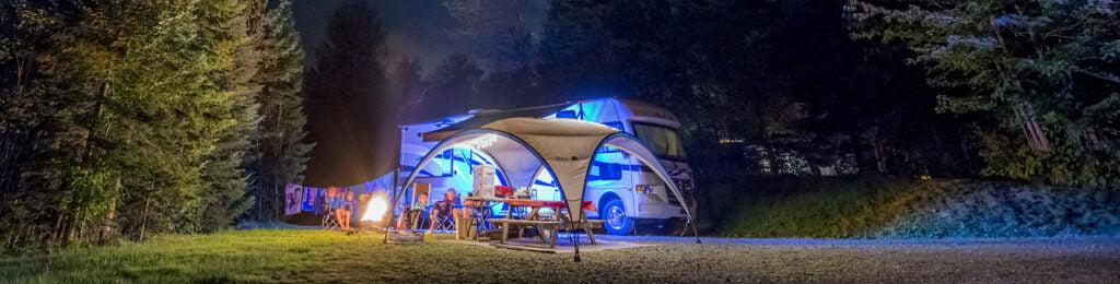 Campsite set up at at Mont-Mégantic National Park, a popular celestial site..
